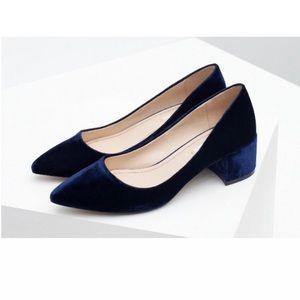 Zara blue velvet chunky pumps 40